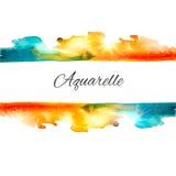 Vector Watercolor Splash Sale. Vector watercolor splash background. Colorful aquarelle background. Vintage frame. Orange and blue blot. Sign board. Watercolor Royalty Free Illustration