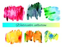 Vector watercolor splashes collection Stock Photo