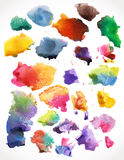 Vector watercolor splashes, isolated. Royalty Free Stock Images