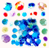 Vector watercolor splashes, isolated. EPS10. Abstract hand drawn watercolor blots background. Vector illustration Royalty Free Stock Photography