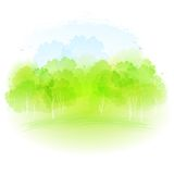 Vector watercolor spring landscape Royalty Free Stock Image