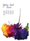 Vector watercolor stain  on white with place for text Stock Photo