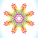 Vector watercolor star with colorful rainbow blobs. Stock Image