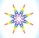 Vector watercolor star with colorful rainbow blobs. Stock Photo