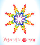 Vector watercolor star with colorful rainbow blobs. Royalty Free Stock Photos