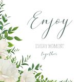 Vector watercolor style floral greeting, wedding invite, save th Royalty Free Stock Photo
