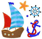Vector Watercolor Style Nautical Anchor with Rope, Wheel, Ship Royalty Free Stock Images