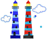 Vector Watercolor Style Nautical Lighthouses and Clouds Royalty Free Stock Image