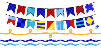 Vector Watercolor Style Nautical Rope, Waves and Bunting Royalty Free Stock Images