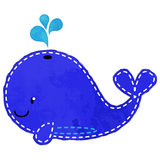 Vector Watercolor Style Whale with Stitching Royalty Free Stock Photo