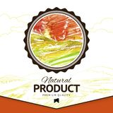 Vector watercolor styled drawing natural product label Royalty Free Stock Image
