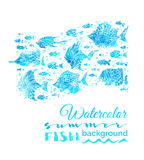 Vector watercolor summer fish background. Bright blue fish silhouettes with white contours on white background. Underwater blue sea life Royalty Free Stock Photography