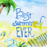 Vector watercolor summer poster with lettering on Royalty Free Stock Images