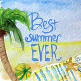 Vector watercolor summer poster with lettering on Royalty Free Stock Photos