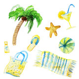 Vector watercolor summer set isolated on white Stock Images