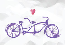 Vector watercolor tandem bicycle. Hand drawn stylish watercolor tandem bicycle on paper background. Editable vector format Stock Photography