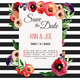 Vector watercolor template save the date with floral frame, leaves. Artistic  design for banners, greeting cards,sales, post Royalty Free Stock Photo