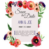 Vector watercolor template save the date with floral frame, leaves. Artistic  design for banners, greeting cards,sales, post Royalty Free Stock Photography