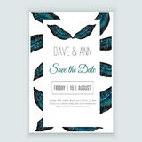 Vector watercolor template save the date with floral frame, leaves in tropic style. Artistic  design for banners, greeting c Stock Photo