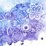 Vector watercolor texture with floral ornament. Wet paper. Blobs Stock Images