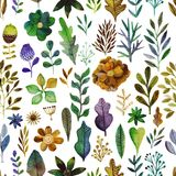 Vector watercolor texture with flowers and plants. Floral ornament. Original flowers stock illustration