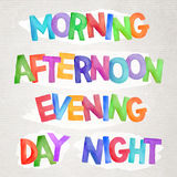 Vector watercolor time of day words stock illustration
