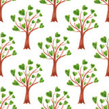Vector watercolor trees seamless pattern. Trees with leaves in hearts. Can be used for wallpaper, fabric design, textile design, c Royalty Free Stock Image