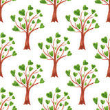 Vector watercolor trees seamless pattern. Trees with leaves in hearts. Stock Images