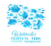 Vector watercolor tropical fish background. Bright watercolor fish silhouettes on white background. Underwater blue ocean life Stock Photos