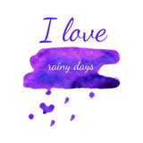 Vector watercolor valentine weather banner. Violet spot heart ba Stock Image