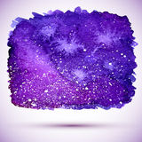 Vector watercolor violet cosmic banner with shadow Royalty Free Stock Photography