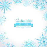 Vector watercolor winter background. Hand-drawn ornate snowflakes for your Christmas design. There is place for your text in the center Royalty Free Stock Photography