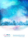 Vector Watercolor Winter Christmas Flyer Royalty Free Stock Photo
