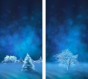 Vector Watercolor Winter Night Banners Stock Photography