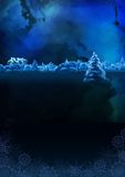 Vector Watercolor Winter Night Landscape royalty free illustration