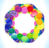Vector watercolor wreath with colorful rainbow blobs. Royalty Free Stock Photo