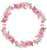 Vector watercolor wreath rose flowers  green Stock Images