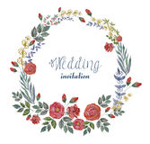 Vector Watercolor Wreath with Roses and Herbs. Stock Photo