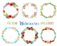 Vector watercolor wreathes. Royalty Free Stock Photos