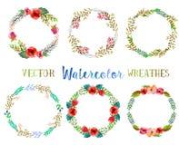 Vector watercolor wreathes. Royalty Free Stock Photos