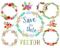 Vector watercolor wreathes. Stock Image