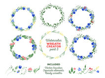 Vector watercolor wreaths and separate floral Stock Photography