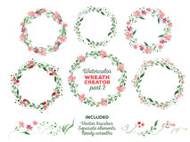 Vector watercolor wreaths and separate floral Royalty Free Stock Photo
