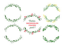 Vector watercolor wreaths and separate floral Royalty Free Stock Image