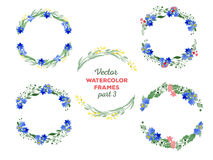 Vector watercolor wreaths and separate floral Stock Photo