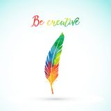Vector watercolor writing feather. Colorful vector feather. Watercolor silhouette of feather. Royalty Free Stock Photo