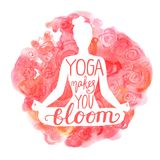 Vector watercolor yoga illustration pink Royalty Free Stock Image