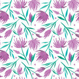 Vector watercolour floral seamless pattern, delicate flowers, green, turquoise and pink flowers. For wedding cards and invitations design Stock Images