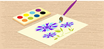 Vector watercolours. Illustration of watercolours and brush Royalty Free Stock Image
