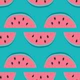 Vector watermelon background with black seeds. Seamless watermelons pattern. Vector background with watercolor watermelon slices. royalty free illustration